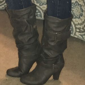 Grey Scrunched Boots w/Heels